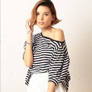 Black and white stripes off shoulder top